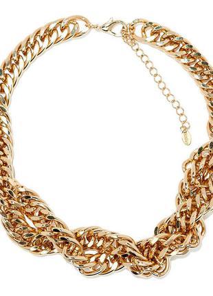 Массивное золотое ожерелье цепь zara