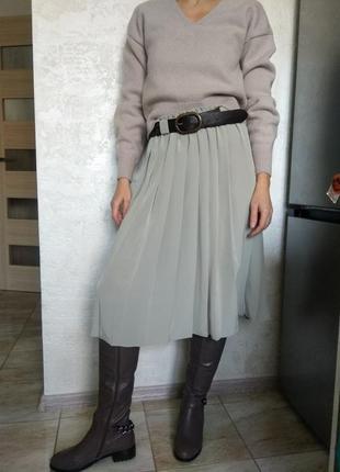 Юбка плиссе. плиссированная юбка. трендовая юбка миди.