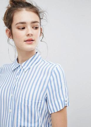 Полосата сорочка на короткий рукав bershka за спокусливою ціною до 31.10