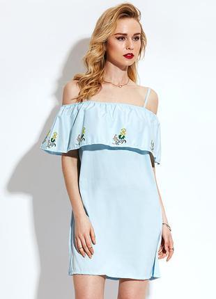 Голубое платье с оборкой. новое!