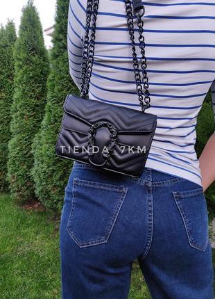 Клатч на цепочке b6033 черный / сумка через плечо с подковой