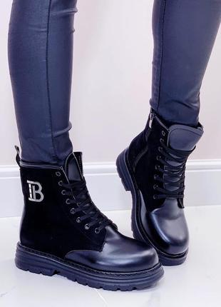 Новые женские черные кожаные зимние ботинки сапоги сапожки