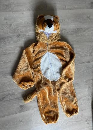 Классный карнавальный  костюм комбинезон «лев» меховой рыжий