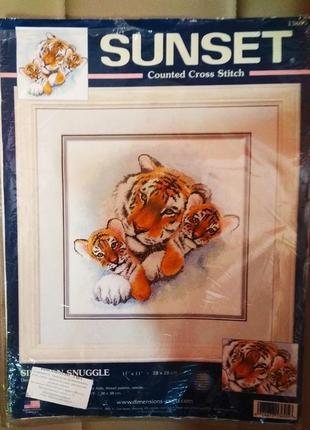 Набор для вышивания нитками, вышивка тигры (dimensions) + вышивка белочка в подарок
