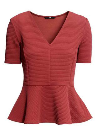 Блуза с баской xs цвета спелой вишни h&m
