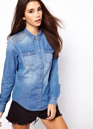 Мега крутая джинсовая рубашка с шипами