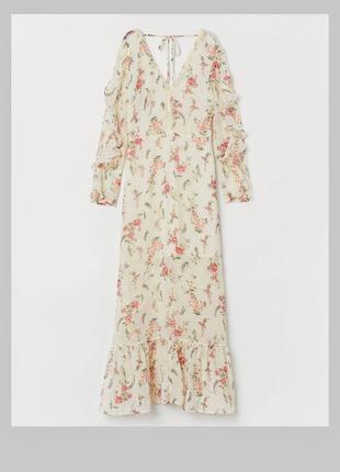 Шикарное нежное шифоновое платье в стиле бохо цветочек