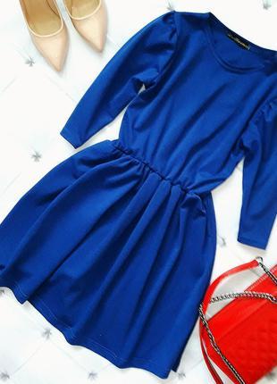 Платье синее с юбкой колокольчик