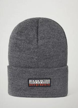 Оригинальная мужская шапка napapijri faro dark grey(np0a4eme1971)