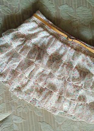 Белая, воздушная, легкая, короткая юбка