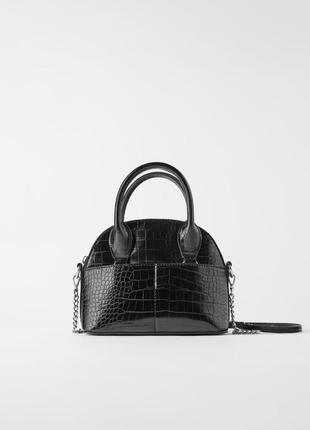 Миниатюрная сумка- боулинг с эффектом крокодиловой кожи zara