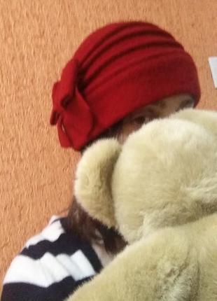 Шляпка шерсть с бантом