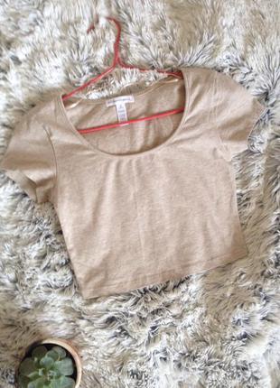 Кроп-топ бежевый, новый, привезенный из америки, футболка укороченная , короткая футболка