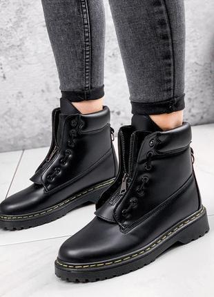 Новые женские черные деми кожаные сапожки ботинки