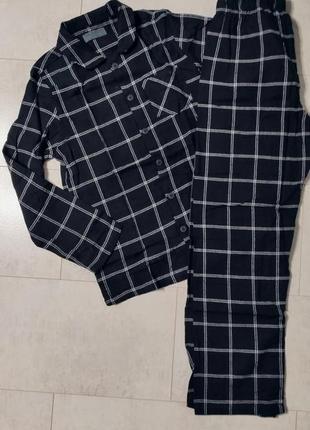 Теплая байковая мужская пижама в клетку, рубашка и штаны