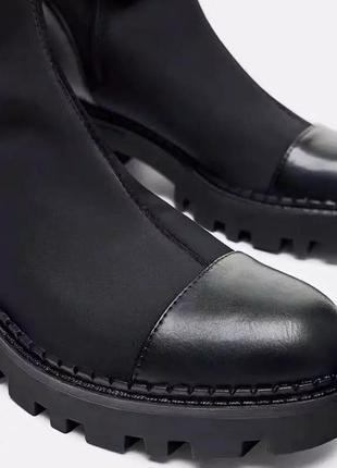Ботфорты zara высокие сапоги чулки ботинки