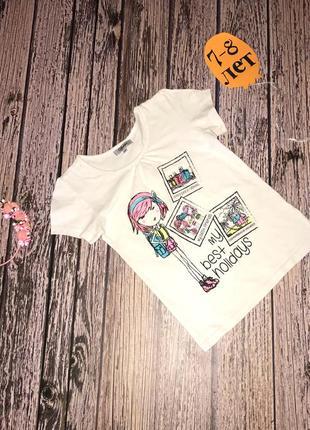 Фирменная футболка для девочки 7-8 лет, 122-128 см
