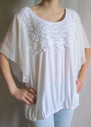 Белая комфортная блузка wallis, румыния, вискоза, большой размер
