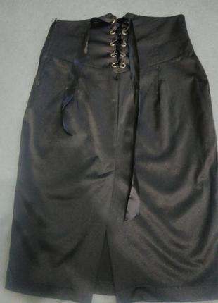Юбка- карандаш - миди с корсетом, шнуровкой( атласная)