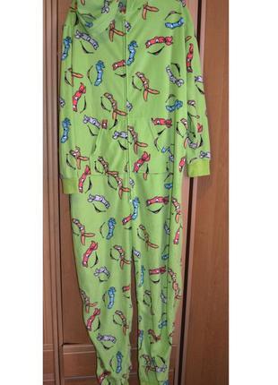 Теплая мужская пижама, слип, ромпер, комбинезон, черепашки ниндзя, размер l
