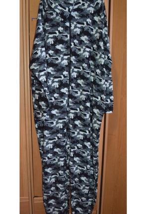 Теплая мужская пижама, большой размер, слип, комбез, комбинезон, 4xl/5xl