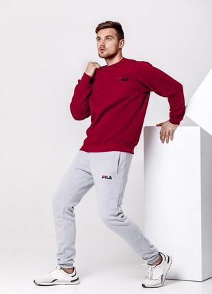 Зимний мужской спортивный костюм - бордовый теплый свитшот, серые теплые штаны
