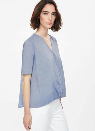 Хлопковый серо-голубой топ/блуза от cos
