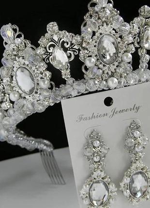 Диадема, корона, діадема, серьги , сережки, кульчики , свадебное
