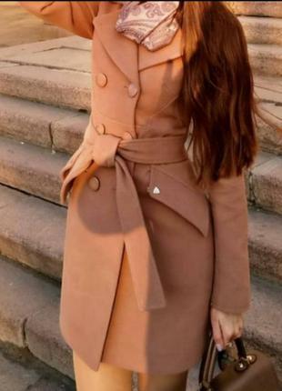 Пальто женское качественное элегантное песочное пудровое коричневое осеннее красивое s 42