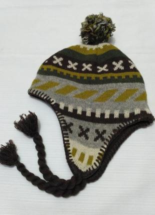 H&m шерстяная зимняя шапка на флисовом подкладе на возраст 6-8 лет