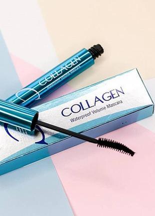 💙водостойкая тушь enough collagen waterproof volume mascara, 9 мл
