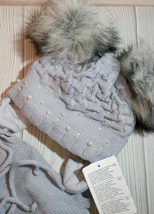 Шапка шарф зимний комплект набор для девочек с бубонами бомбонами помпонами agbo