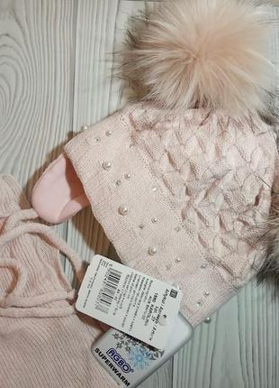 Шапка шарф зимний комплект набор для девочек с бубонами бомбонами помпонами