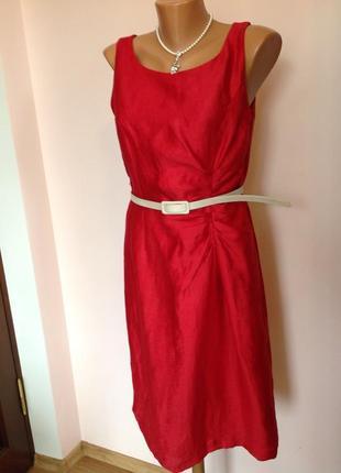 Красное елегантное  платье из льна /l/brend kaliko