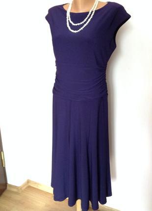 Фиолетовое элегантное миди платье/ l/brend linea