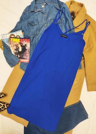 Дороти перкинс синее платье сарафан миди прямое на брительках и подкладке