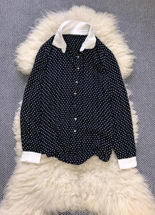 Рубашка блуза zara натуральная вискоза в точку горох
