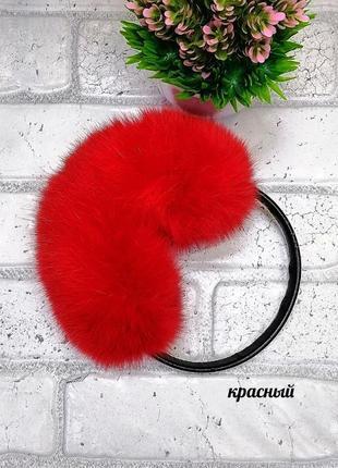 ❤️ красные наушники меховые натуральный мех кролика