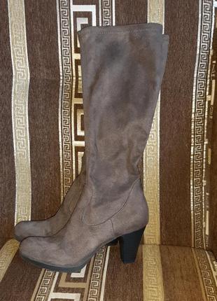 Сапоги- чулки из текстиля под замш