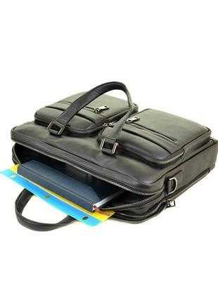 Мужской кожаный портфель, черная деловая сумка
