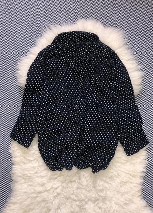 Рубашка блуза zara натуральная вискоза принт точка горох