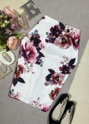 Шикарная брендовая юбка по фигуре в цветочный принт.