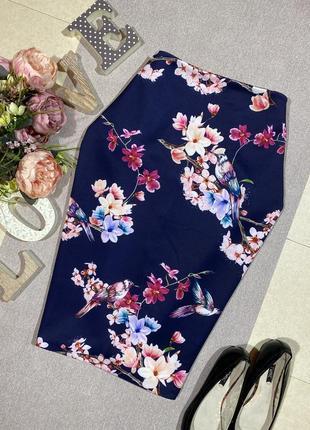 Шикарная брендовая юбка в цветочный принт.