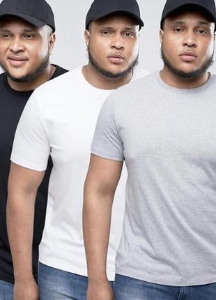 Комплект базовых однотонных футболок батал 100% хлопок размеры