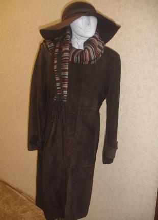 Фирменный marks& spenser кожаный плащ на 46-48 размер новый