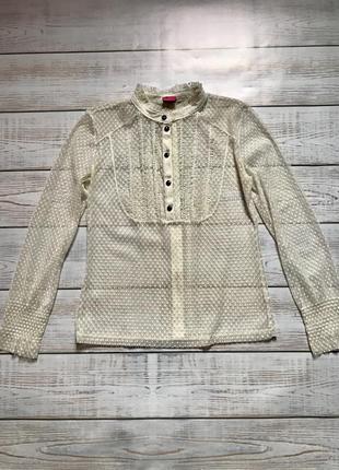 Актуальная прозрачная блуза блузка в сетку сетка рюши