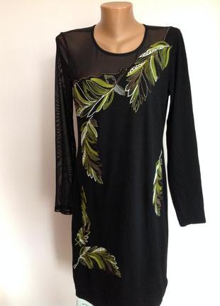 Чёрное елегантное платье -миди с сеточкой и вышивкой/14-16 brend next