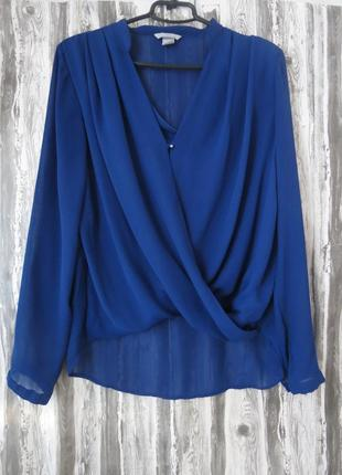 Блуза на запах с длинным рукавом цвет электрик 48-50 h&m