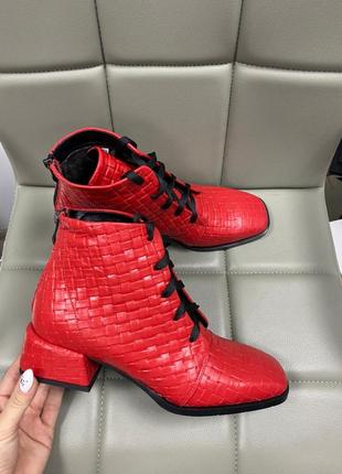 Ботинки с итальянской кожи кожаные зимние ботиночки осенние кожані
