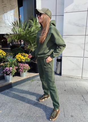 Спортивний жіночий костюм двійка кофта худі з капішоном + штани брюки